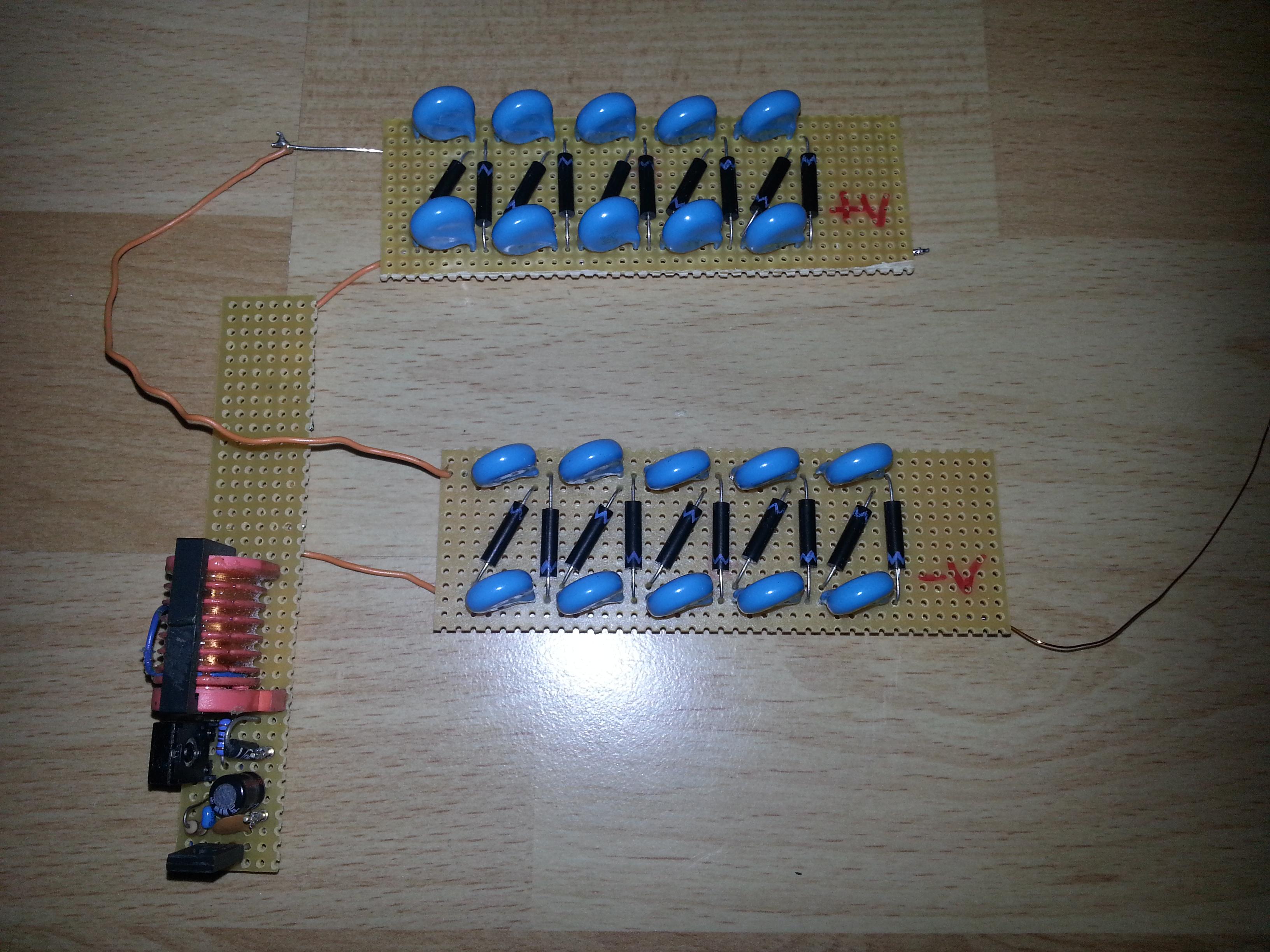 Dual Cockcroft-Walton Voltage Multiplier Cascade