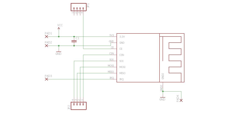 arduino pro mini  u2013 nrf24l01  1 27mm adapter